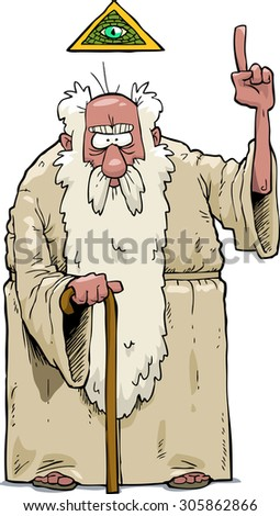 The bearded god on a white background raster version - stock photo