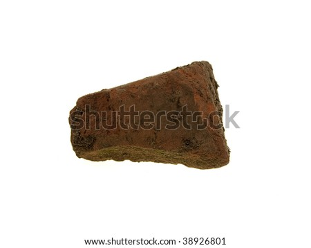 The beaten piece of a stone isolated on a white background - stock photo
