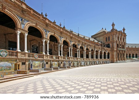 The beautiful and ancient Plaza de Espana in Seville, Andalucia, Spain