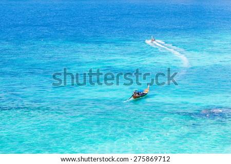 the beautiful andaman sea seen from phi phi island, thailand - stock photo