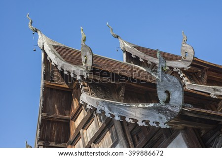 The beautiful architecture of Wat Ton Kwein old wooden temple in Chiang mai province north of Thailand.