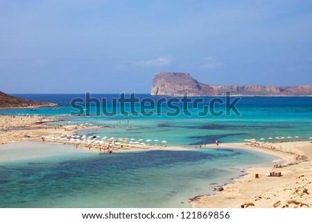 The beautiful Balos beach on Crete island - stock photo