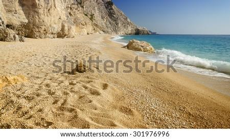 The beautiful beach of Egremni, on the island of Lefkada in Greece - stock photo
