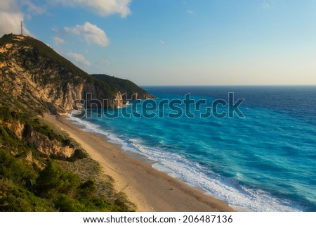 The beautiful beach of Milos on the Lefkada island, in Greece - stock photo