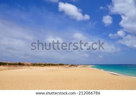 the beautiful beach of SAL in cape verde, near Santa Maria - stock photo