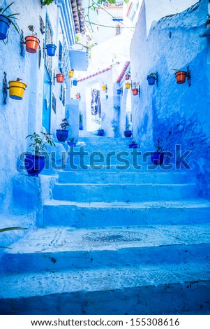 The beautiful blue medina of Chefchaouen in Morocco - stock photo