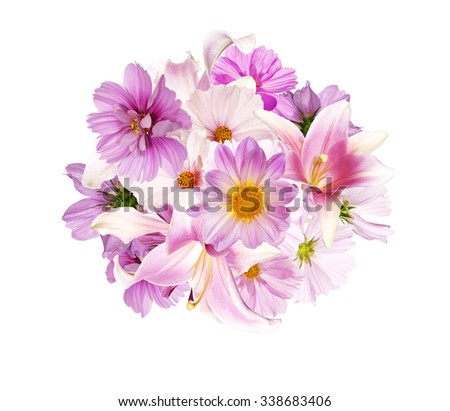 The Beautiful bouquet pink flowers  on white background isolated - stock photo