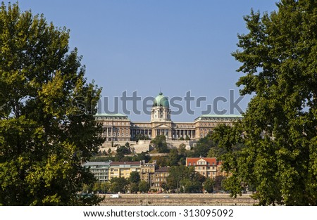 The beautiful Buda Castle lit in the morning sunlight in Budapest, Hungary.