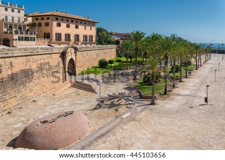 The beautiful capital of the island of Mallorca. The view from the cathedral on the walls and park. - stock photo