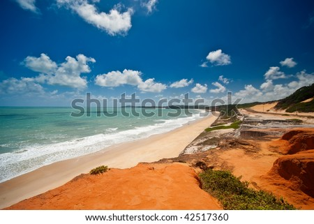 The beautiful coast at Ponta do Madeiro near Tibau do Sul and Pipa Brazil - stock photo