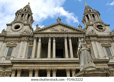 The beautiful facade of the St Paul Cathedral in London, England.