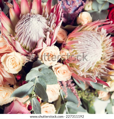 The Beautiful, Fresh, and colorful bridal bouquet. - stock photo