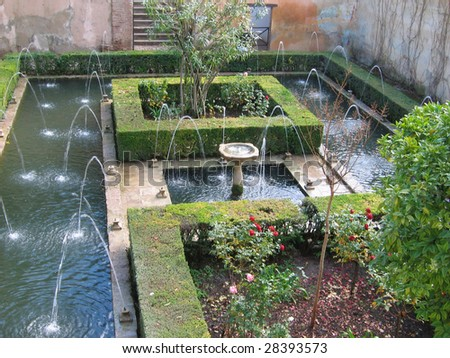 The beautiful gardens of the Generalife in Spain, part of the Alhambra.  Where nature, man, and water mix.
