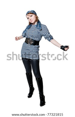 The beautiful girl dressed as the pirate isolated on white background