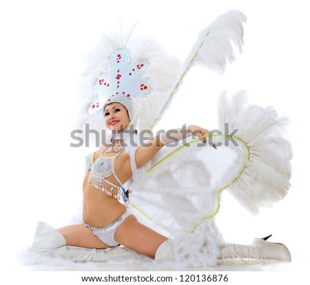 The beautiful girl in a suit for dance poses - stock photo