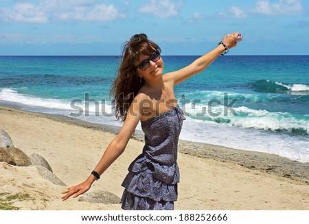 The beautiful girl on Santorini. Greece  - stock photo