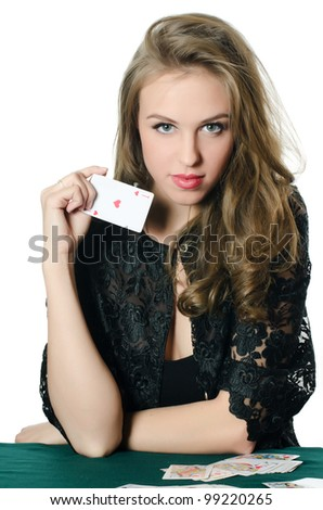 The beautiful girl with a playing card