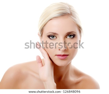 The beautiful girl with an evening make-up - stock photo