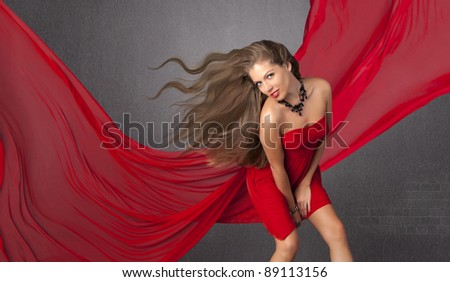 The beautiful girl with long hair - stock photo