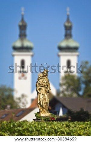 The beautiful golden Maria Statue in Tutzing Bavaria Germany