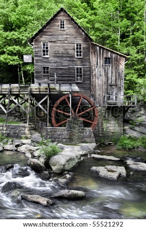 The Beautiful historic Glade Creek Grist Mill after the spring rains. Located in Babcock State Park, West Virginia