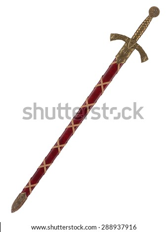 The beautiful knightly sword with the bronze handle and a sheath is isolated on a white background - stock photo