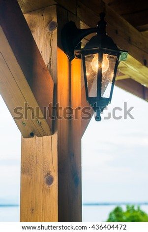 The Beautiful lamp post in the evening before sunset. - stock photo