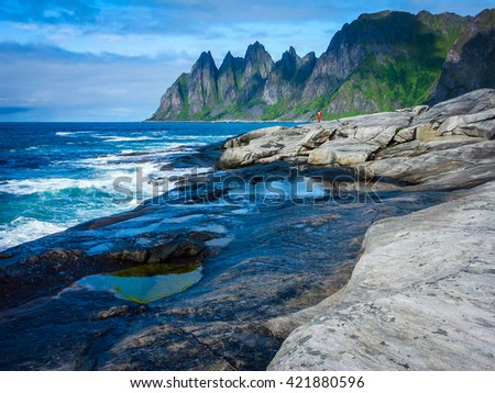 The beautiful landscape of Northern Norway, the coast
