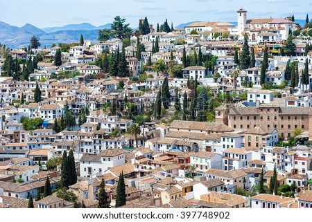 The beautiful landscape view of Granada, Spain.