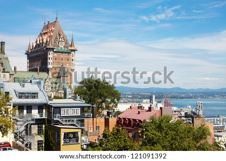 The beautiful large castle in Canada. City Quebec - stock photo