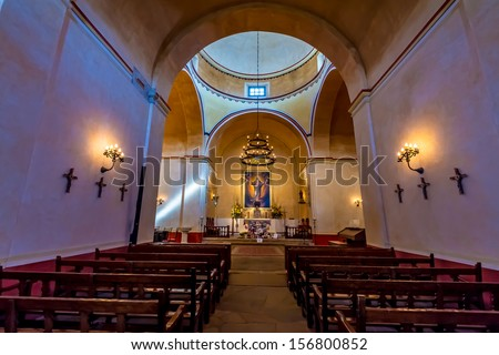 The Beautiful Larger Chapel of the Historic Old West Spanish Mission San Jose, Founded in 1720, San Antonio, Texas, USA.  Part of a National Park System preserving historic missions. - stock photo