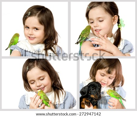 The beautiful little girl holds Parrot and smiles on white background close up - stock photo