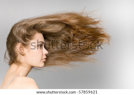 The beautiful long-haired girl on a grey background - stock photo