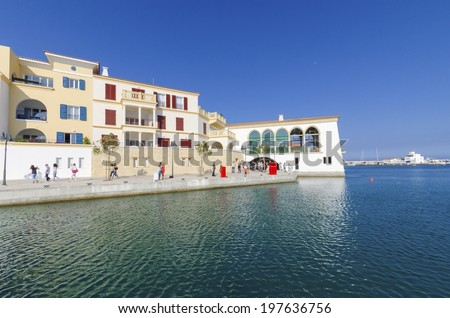 The beautiful Marina in Limassol city in Cyprus. A very modern, high end and newly developed area where yachts are moored and it's perfect for a waterfront promenade. A view of the residential area. - stock photo