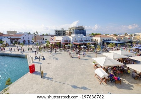 The beautiful Marina in Limassol city in Cyprus. A very modern, high end and newly developed area where yachts are moored and it's perfect for a waterfront promenade. A view of the commercial area. - stock photo