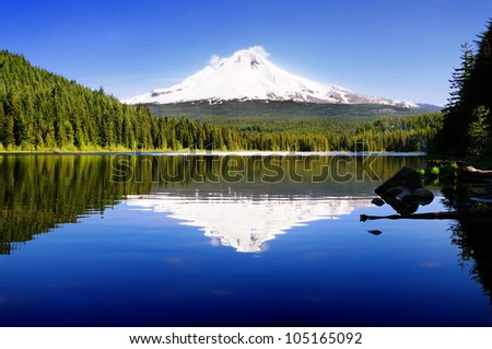 The beautiful Mount Hood reflection in Trillium Lake - stock photo