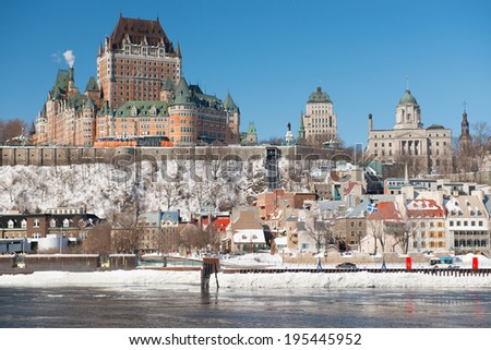 The beautiful Old Quebec City on a cold winter day, Quebec, Canada - stock photo