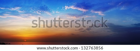 The Beautiful panoramic photo - sunset over the sea - stock photo