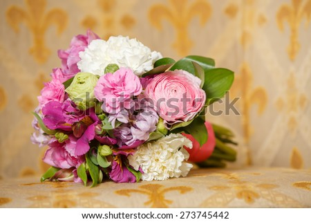 the beautiful pink wedding bouquet with pink tape