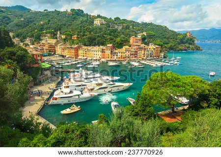 The beautiful Portofino fishing village,luxury harbour,Ligurian Coast,Italy,Europe - stock photo