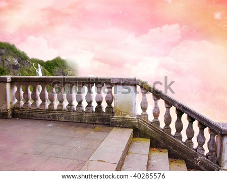 "The beautiful Poster ""In Fairy Tale"" with fantastic Sky. - stock photo"