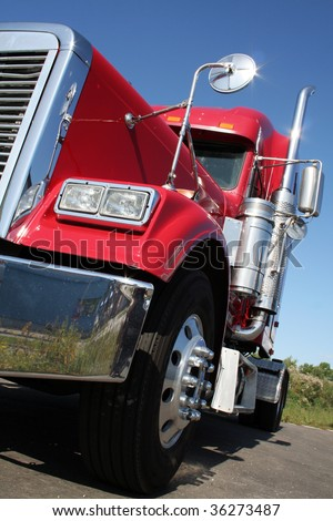 The beautiful red US Truck with chrome - stock photo