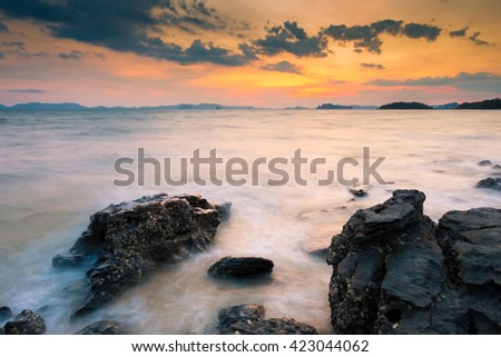 the beautiful rocky beach krabi ,thailand - stock photo