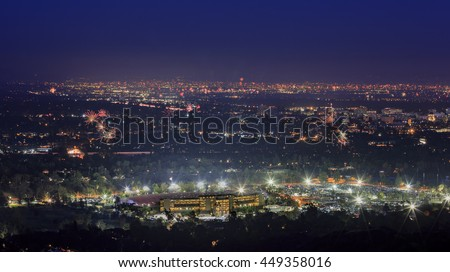 The beautiful Rose Bowl, Pasadena City hall and Pasadena downtown view around twilight time