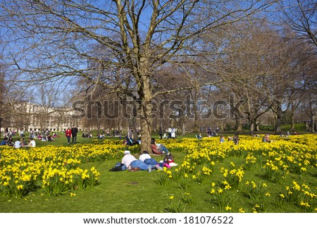 The beautiful St. James's Park in London at Springtime. - stock photo