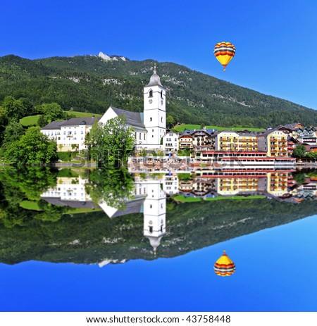The beautiful St. Wolfgang in Lake district near Salzburg Austria - stock photo