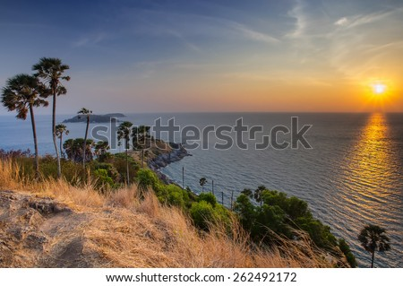 The beautiful sunset at the cape at Promthep cape, Thailand - stock photo