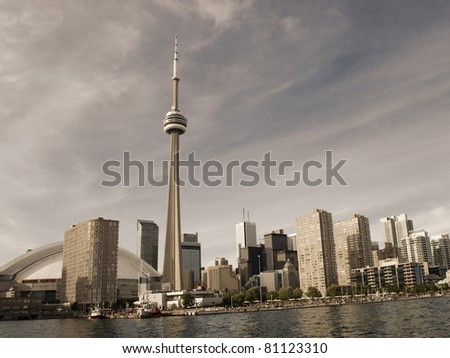 The beautiful Toronto's skyline on a holiday - stock photo