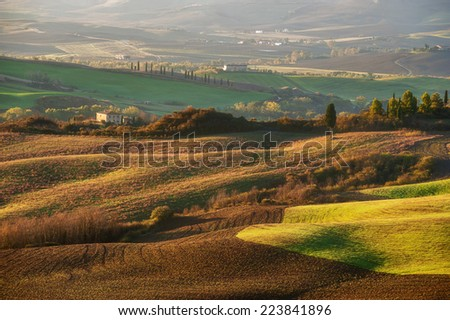 The beautiful Tuscan countryside around San Quirico d'Orcia, Italy - stock photo