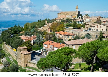 The beautiful Tuscany town Montalcino in Val d'Orcia. - stock photo